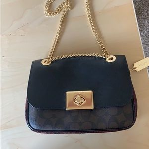 Coach leather snakeskin and logo bag